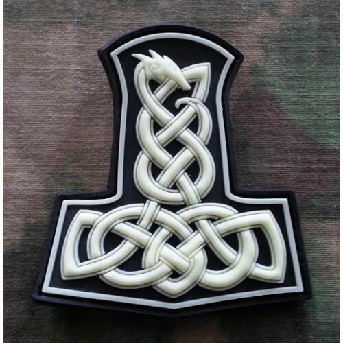 Dragon Thors Hammer Patch, gid (glow in the dark)