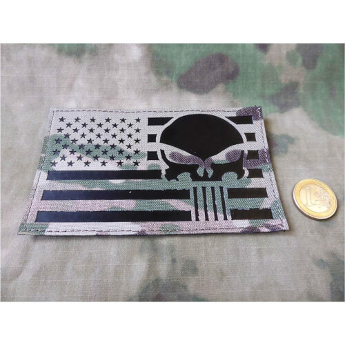 JTG Jumbo US Flag / Punisher - IR / Infrarot Patch - Lasercut, multicam, mit Klettrückseite