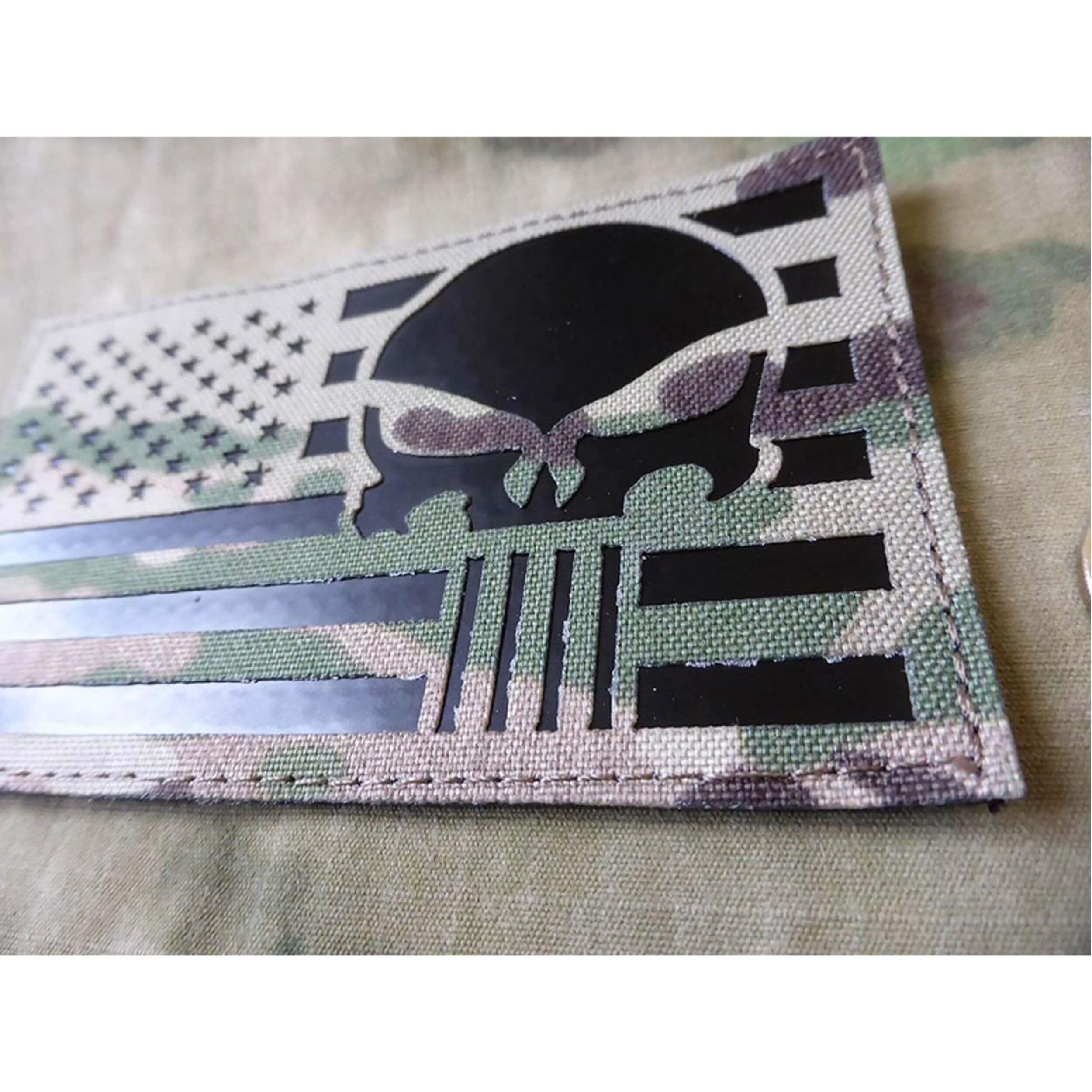 JTG Jumbo US Flag / Punisher - IR / Infrarot Patch - Lasercut, multicam, mit Klettrückseite