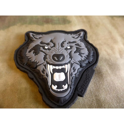 JTG Angry Wolf Head Patch, grau