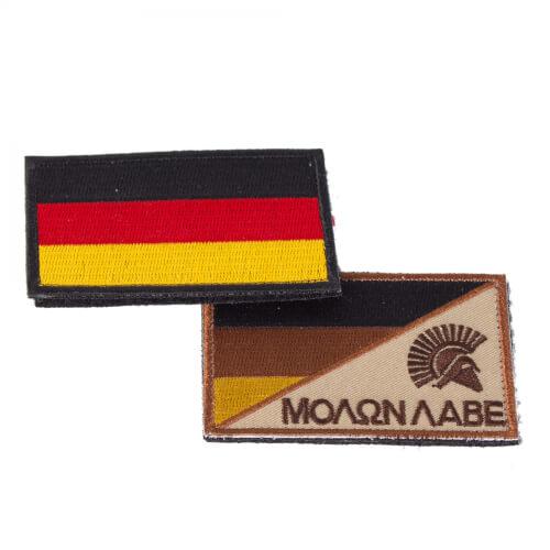 Molon Labe Sparta und Deutschland Flagge Stoff Patch 2 Stück im Set