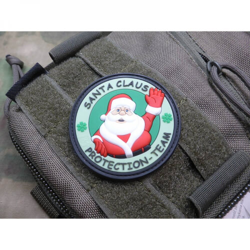 Weihnachtsmann Santa Claus Protection Team tannengrün Patch