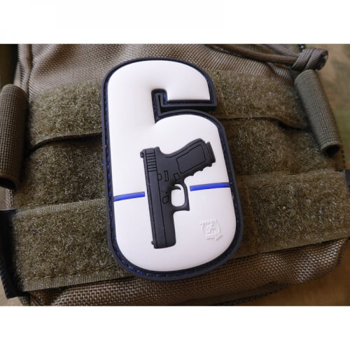 WY6 Watch Your Six Patch fullcolor Thin Blue Line, special edition Rubber Patch