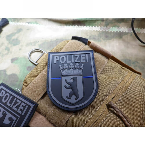 JTG Ärmelabzeichen Polizei Berlin, blackops, Thin Blue Line, Special Edition Patch