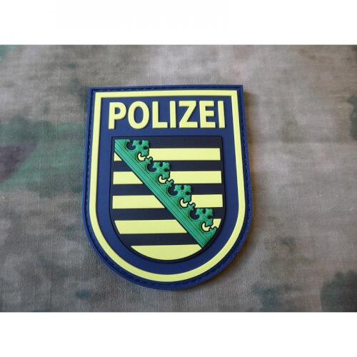 JTG Ärmelabzeichen Polizei Sachsen - Patch, polizeiblau / 3D Rubber Patch