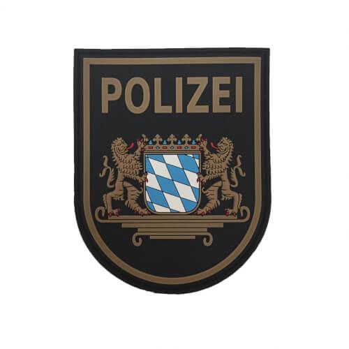 JTG Ärmelabzeichen Polizei Bayern Patch, schwarz / 3D Rubber Patch