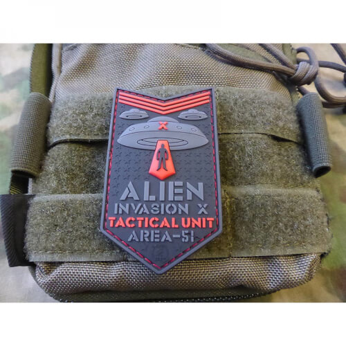 JTG ALIEN INVASION X-Files, Tactical Unit Patch, AREA-51, red / JTG 3D Rubber Patch