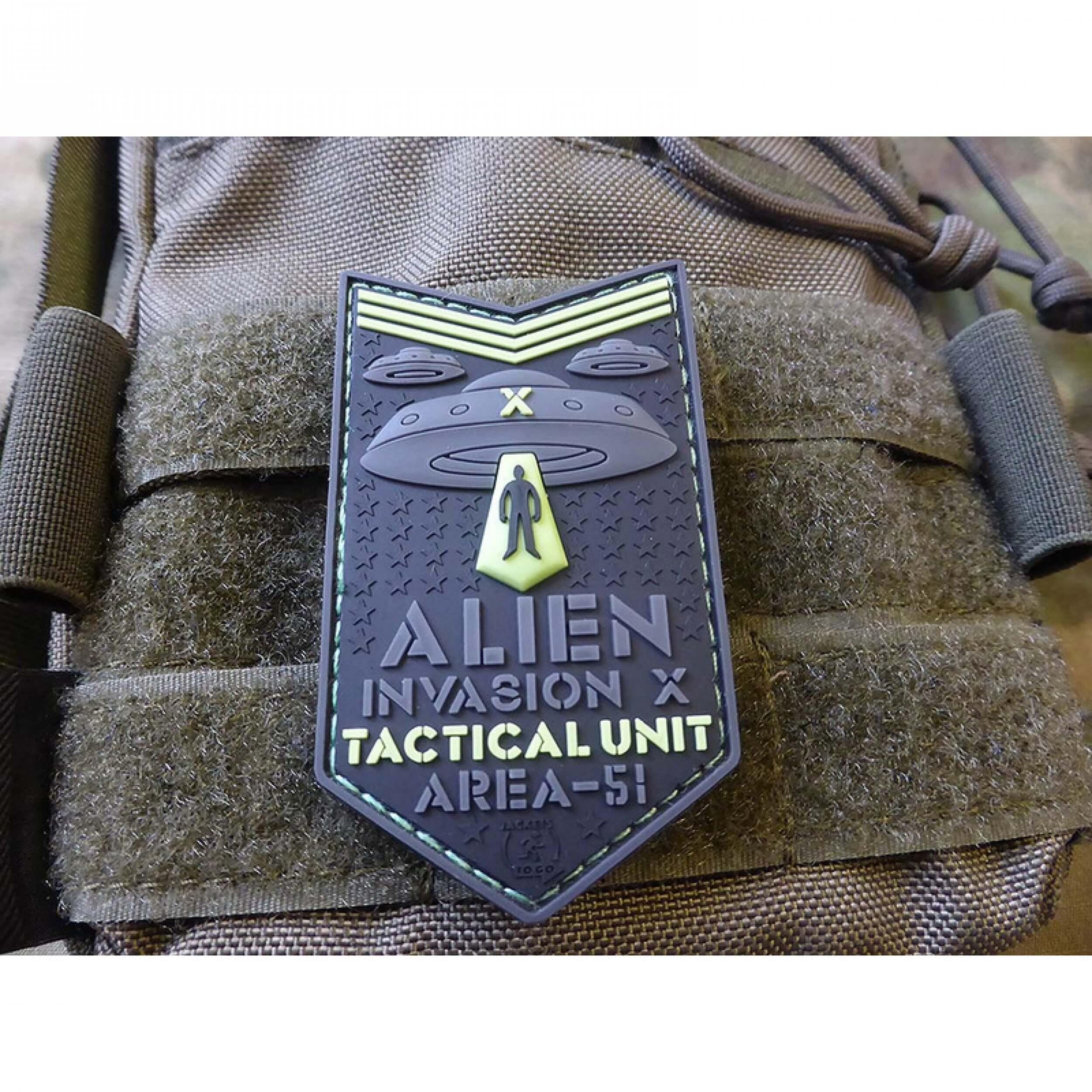 JTG ALIEN INVASION X-Files, Tactical Unit Patch, AREA-51, naval-gid / JTG 3D Rubber Patch