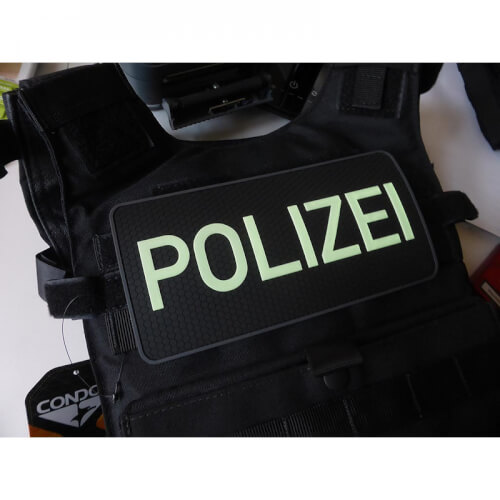 JTG Rückenschild Polizei Patch, gid (glow in the dark) / 3D Rubber Patch