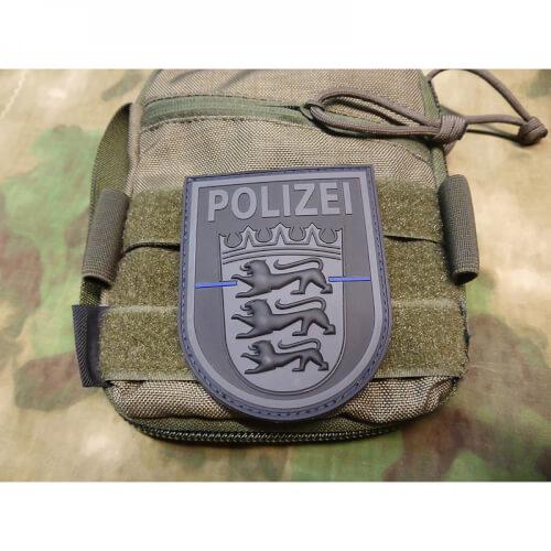 JTG Ärmelabzeichen Polizei Baden-Württemberg, blackops, Thin Blue Line, special edition / JTG 3D Rubber Patch
