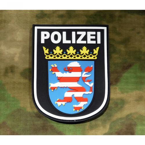 JTG Ärmelabzeichen Polizei Hessen, schwarz / 3D Rubber Patch