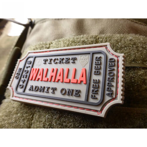JTG WALHALLA TICKET - Odin approved, grey 3D Rubber Patch