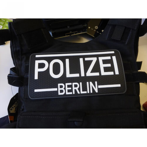 Rückenschild Polizei Berlin, swat 3D Rubber Patch Anti Reflektion