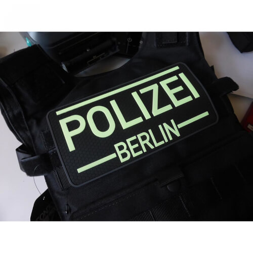 JTG Rückenschild Polizei Berlin Patch, gid (glow in the dark) / 3D Rubber Patch