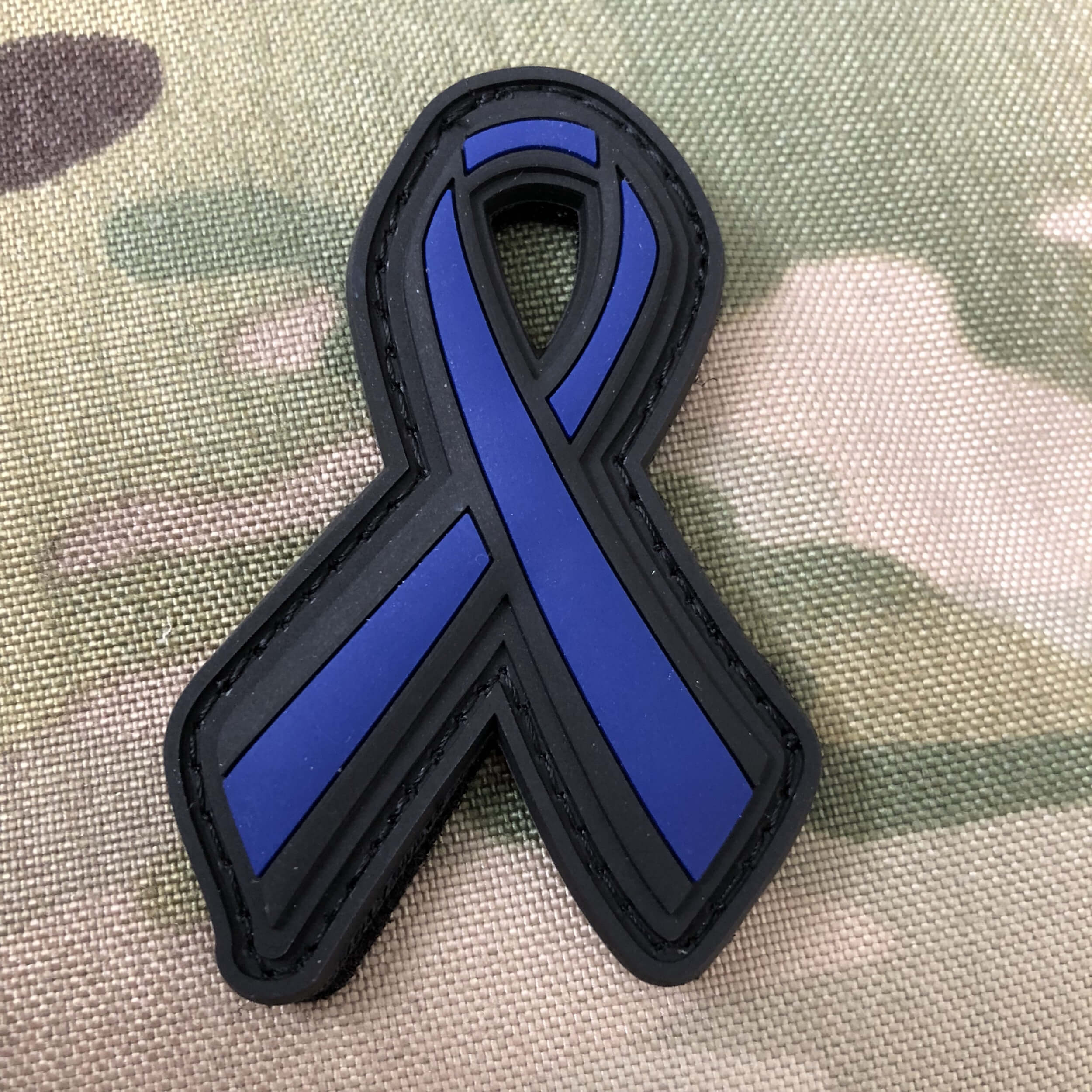 THIN BLUE LINE SUPPORT POLIZEI POLICE RIBBON SCHLEIFE 3D Rubber Patch