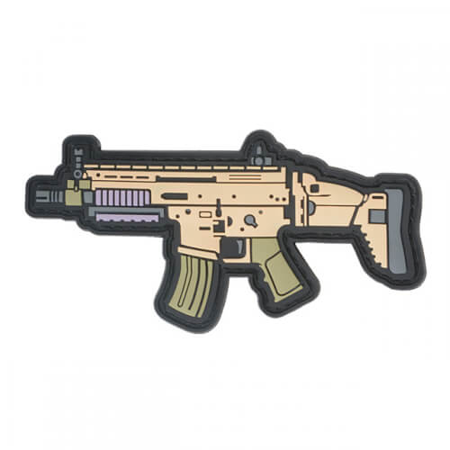 SCAR16 GUN RIFLE AIRSOFT PVC Patch 3D