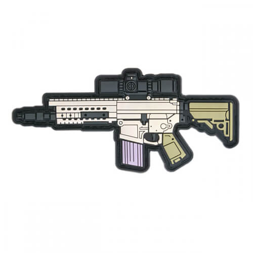 SR25 GUN RIFLE AIRSOFT PVC Patch 3D