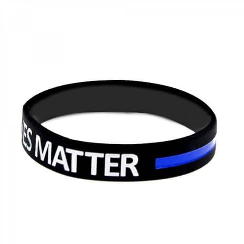 BLUE LIVES MATTER - THIN BLUE LINE Silikon Ärmbänder