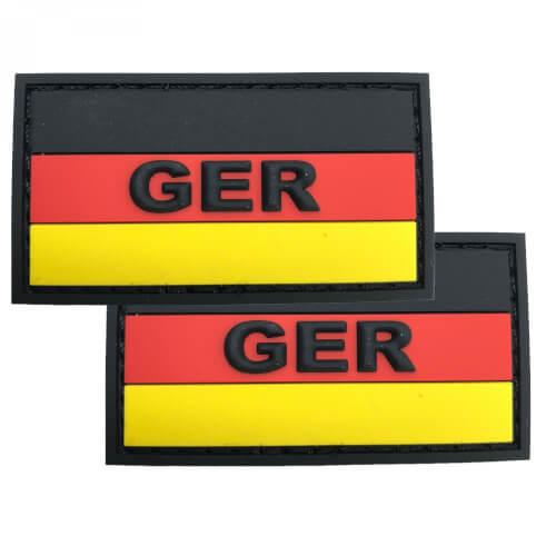 GER mit Deutschlandflagge PVC Patch im 2er Set