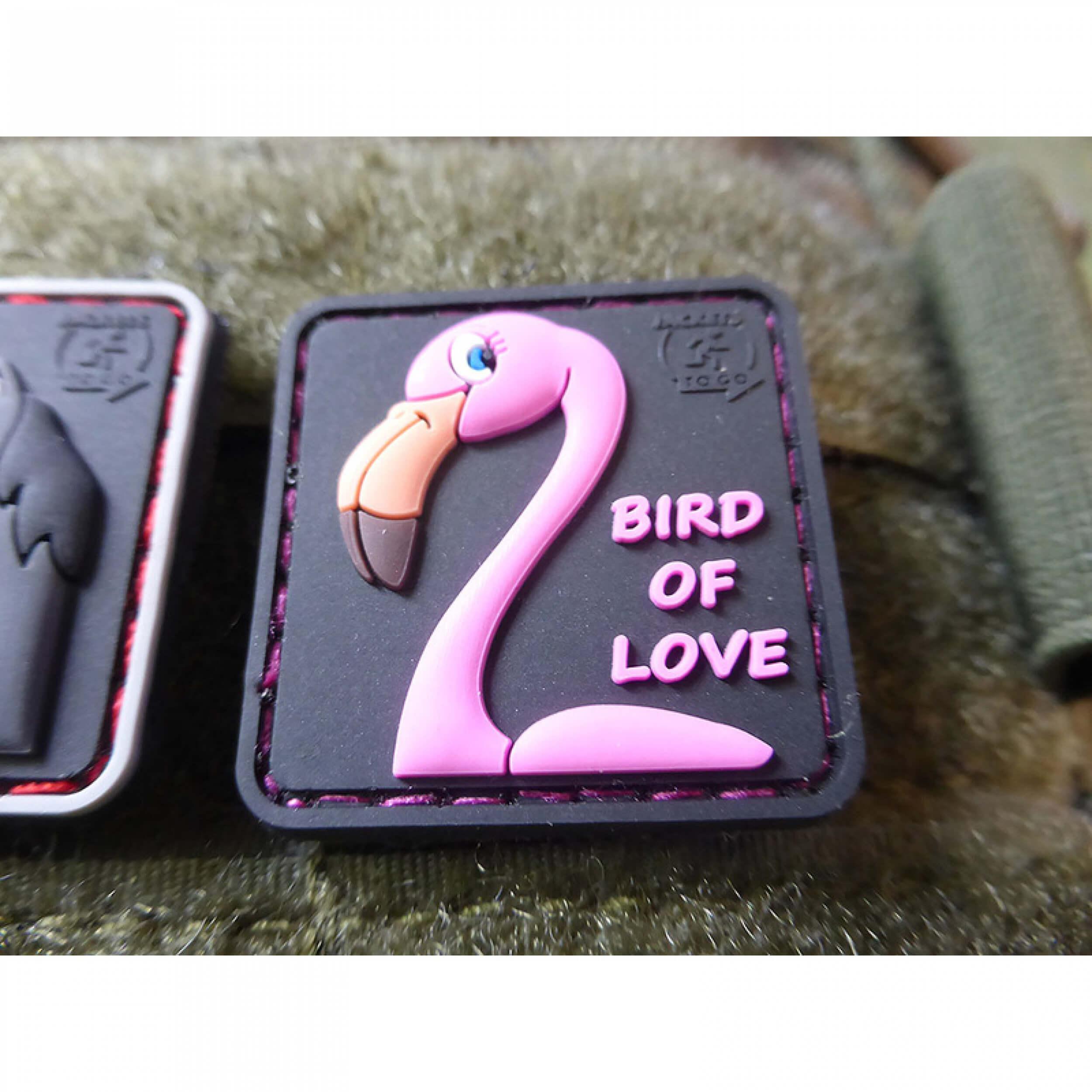 DUFT FLAMINGO Patch, Vogel der Liebe, zart duftend nach Erdbeere, limitiert / 3D Rubber Patch