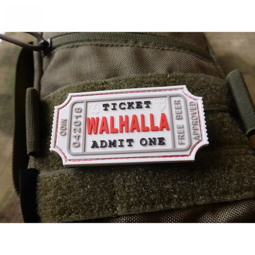 JTG WALHALLA TICKET - Odin approved, white 3D Rubber Patch