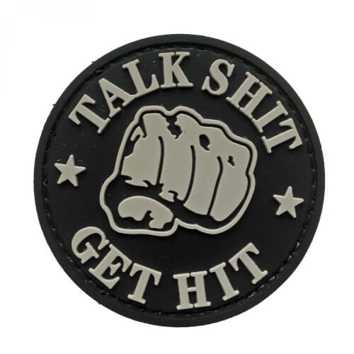 PVC Patch 'TALK SHIT - GET HIT' Klett-Abzeichen