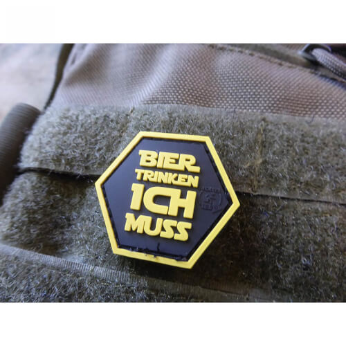 JTG Bier Trinken ICH Muss Hexagon Patch, fullcolor / JTG 3D Rubber Patch, HexPatch