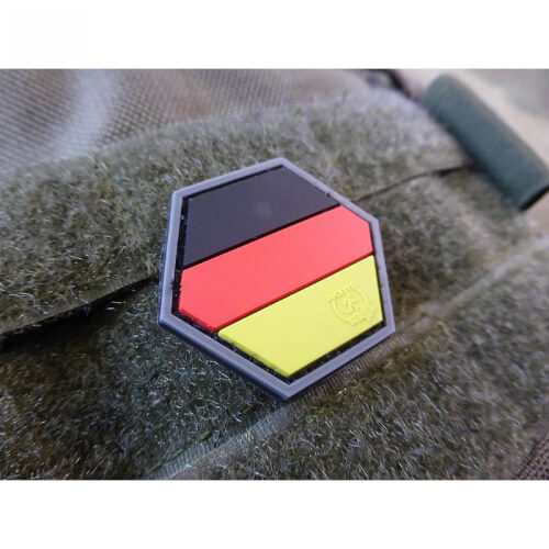 Deutschland Germany Flagge Hexagon 3D Rubber Patch, HexPatch