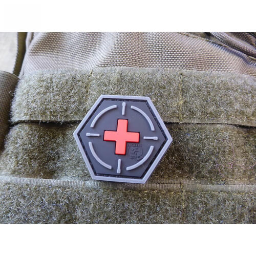 JTG Tactical Medic Red Cross, Hexagon Patch, blackmedic / JTG 3D Rubber Patch, HexPatch