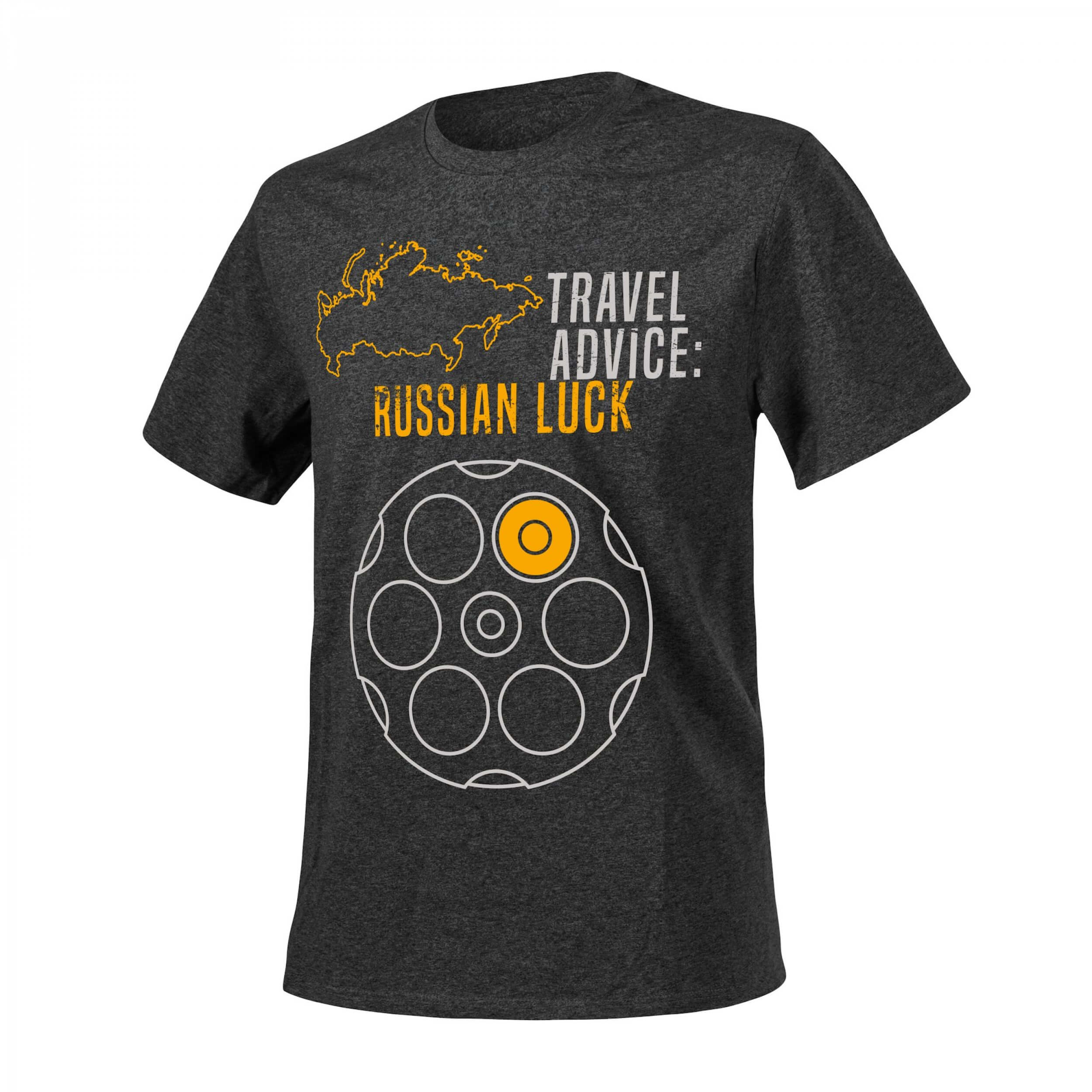 T-Shirt (Travel Advice: Russian Luck) - Melange Black-Grey