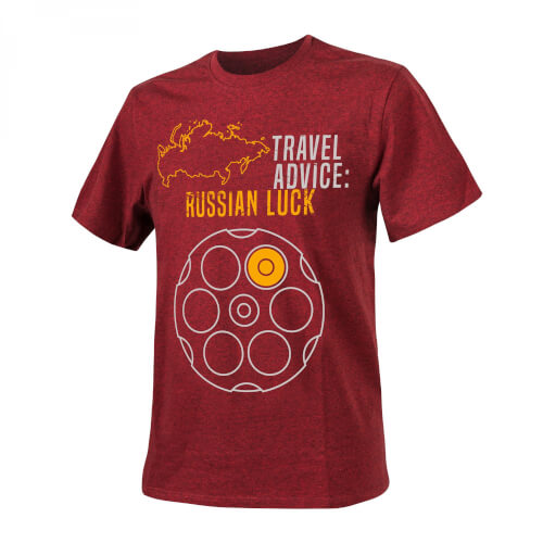 T-Shirt (Travel Advice: Russian Luck) - Melange Red
