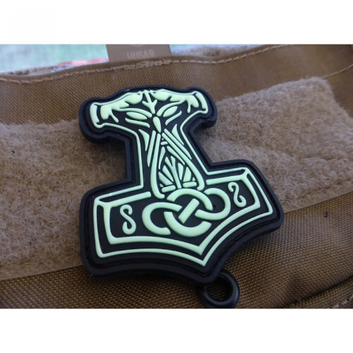 Thors Hammer Mjölnir, gid (glow in the dark) / 3D Rubber Patch