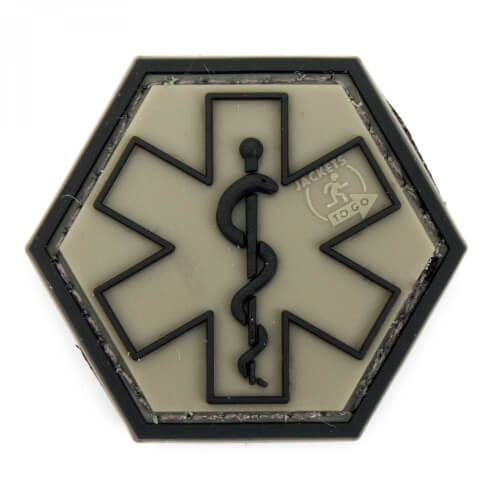 JTG PARAMEDIC, steingrau-oliv Hexagon Patch  (gb)