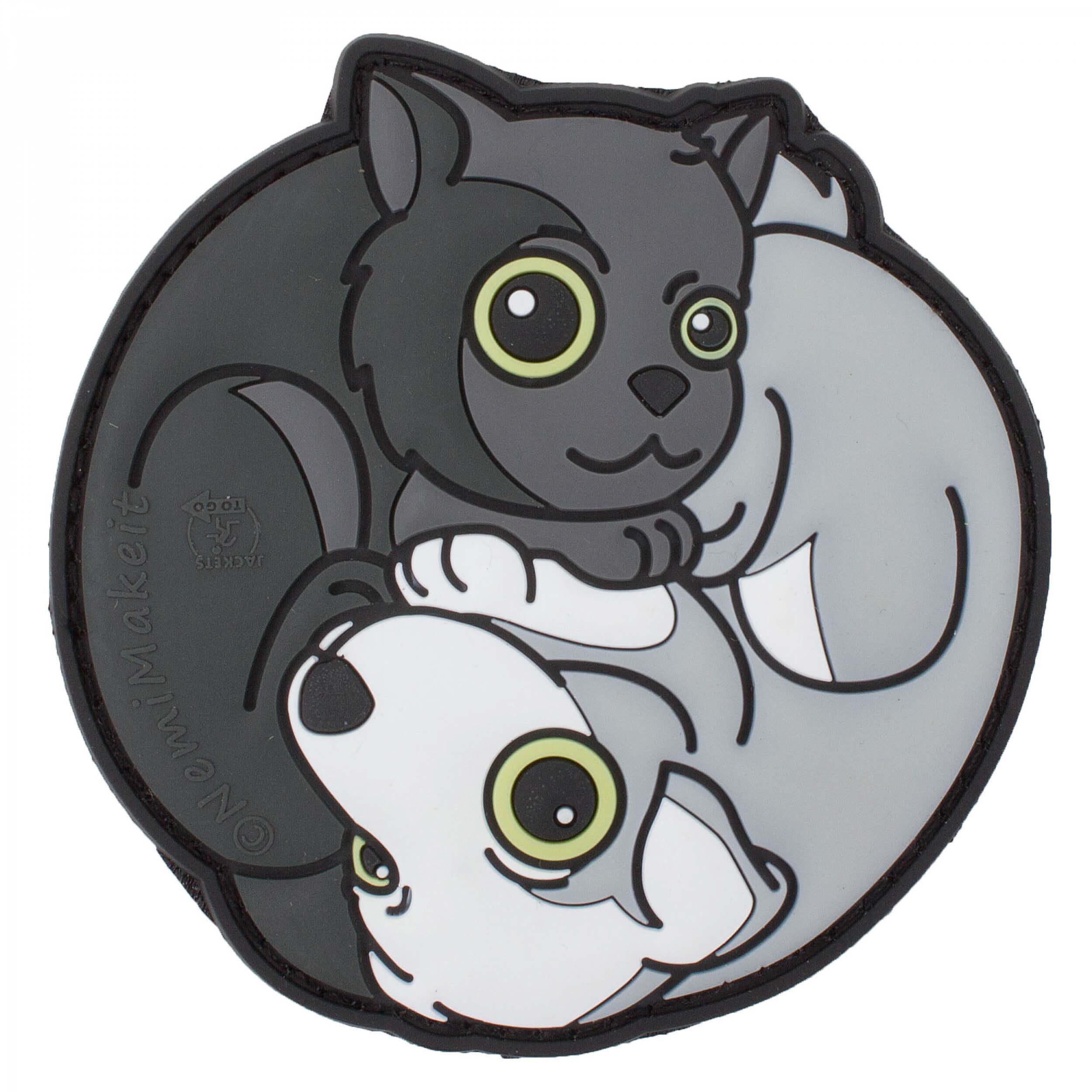 Black Cat - White Dog Yin & Yan 3D Rubber Patch, fullcolor