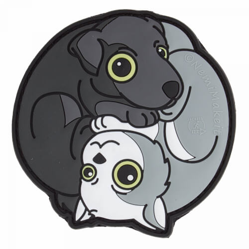 Black Dog - White Cat Yin & Yang 3D Rubber Patch, fullcolor