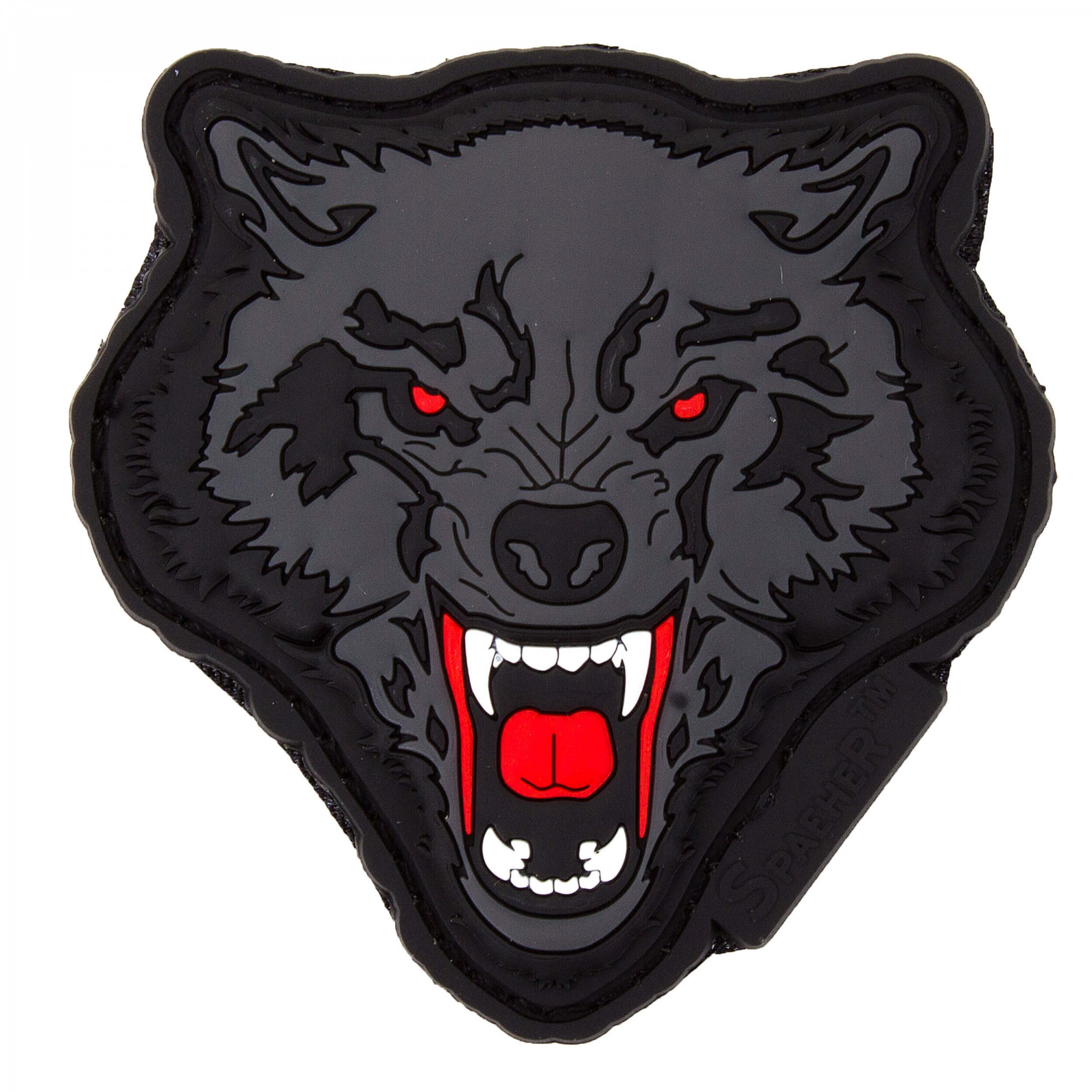 JTG Angry Wolf Head Patch, rot-grau